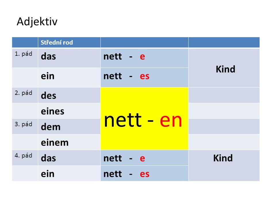 Adjektiv Střední rod 1. pád dasnett - e Kind einnett - es 2. pád des nett - en eines 3. pád dem einem 4. pád dasnett - e Kind einnett - es
