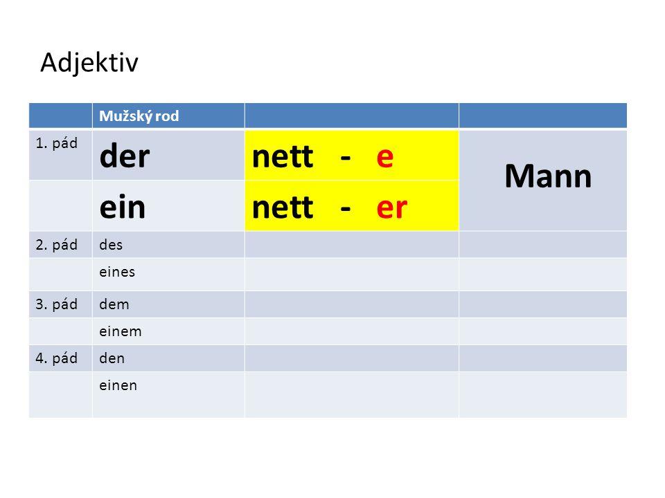 Adjektiv Mužský rod 1.dernett - eMann einnett - er 2.2.des nett - en eines 3.3.dem einem 4.4.den einen