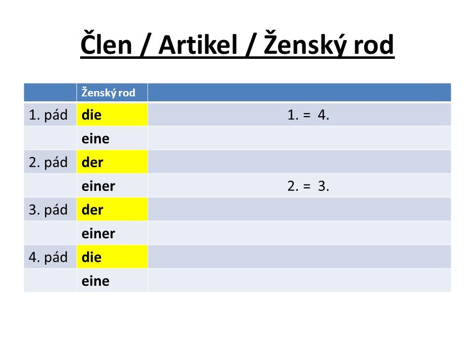 Člen / Artikel / Ženský rod Ženský rod 1. páddie 1. = 4. eine 2. pádder einer 2. = 3. 3. pádder einer 4. páddie eine