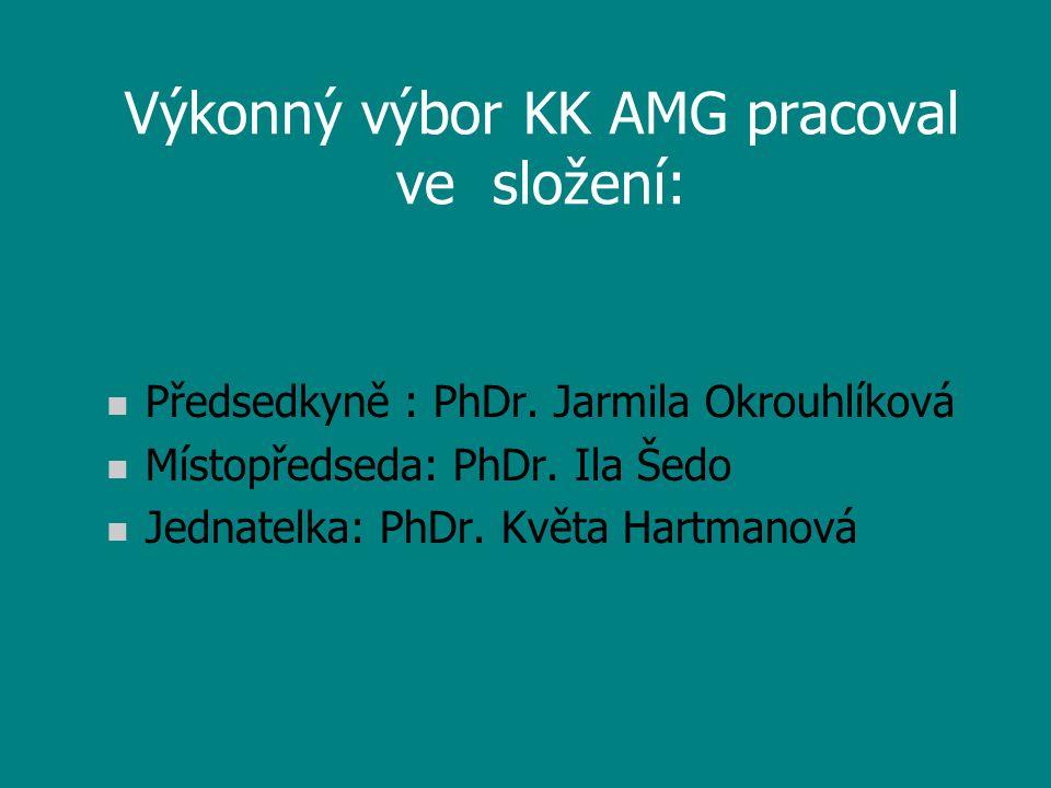Výkonný výbor KK AMG pracoval ve složení: n Předsedkyně : PhDr. Jarmila Okrouhlíková n Místopředseda: PhDr. Ila Šedo n Jednatelka: PhDr. Květa Hartman