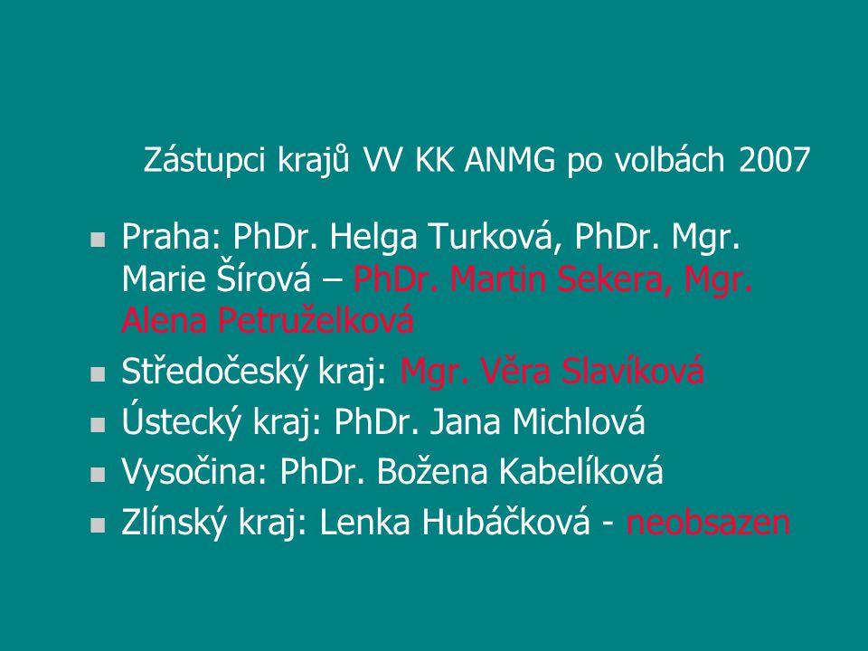 Zástupci krajů VV KK ANMG po volbách 2007 n Praha: PhDr. Helga Turková, PhDr. Mgr. Marie Šírová – PhDr. Martin Sekera, Mgr. Alena Petruželková n Střed