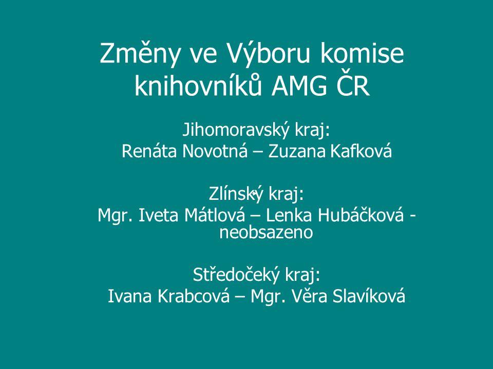 Změny ve Výboru komise knihovníků AMG ČR Jihomoravský kraj: Renáta Novotná – Zuzana Kafková Zlínský kraj: Mgr.