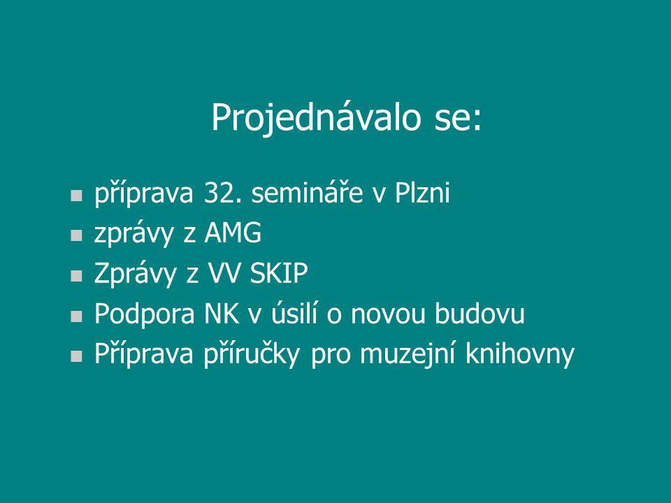 Projednávalo se: n příprava 32. semináře v Plzni n zprávy z AMG n Zprávy z VV SKIP n Podpora NK v úsilí o novou budovu n Příprava příručky pro muzejní