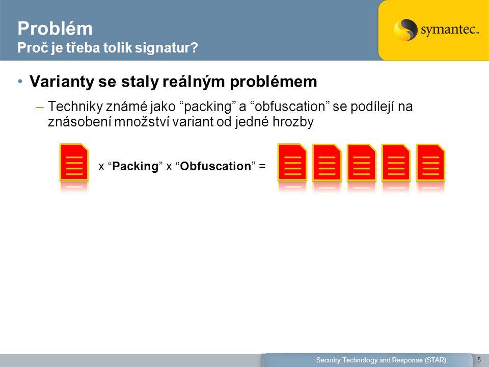 """Problém Proč je třeba tolik signatur? Varianty se staly reálným problémem –Techniky známé jako """"packing"""" a """"obfuscation"""" se podílejí na znásobení množ"""
