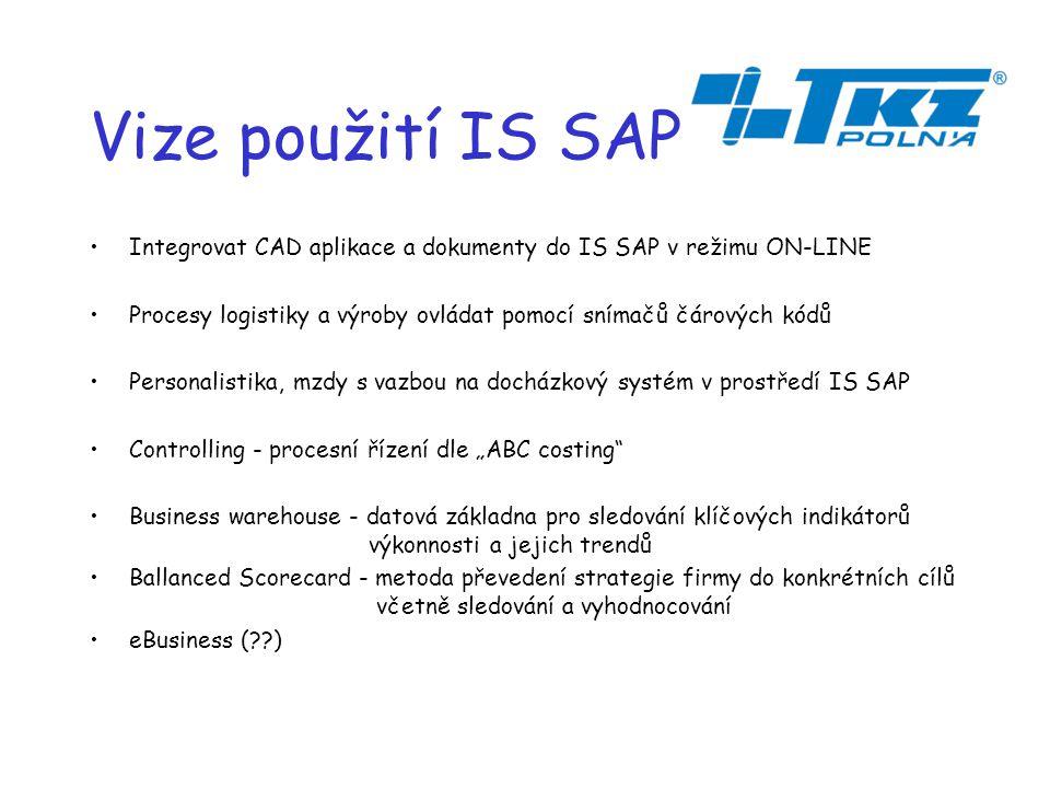 """Vize použití IS SAP Integrovat CAD aplikace a dokumenty do IS SAP v režimu ON-LINE Procesy logistiky a výroby ovládat pomocí snímačů čárových kódů Personalistika, mzdy s vazbou na docházkový systém v prostředí IS SAP Controlling - procesní řízení dle """"ABC costing Business warehouse - datová základna pro sledování klíčových indikátorů."""