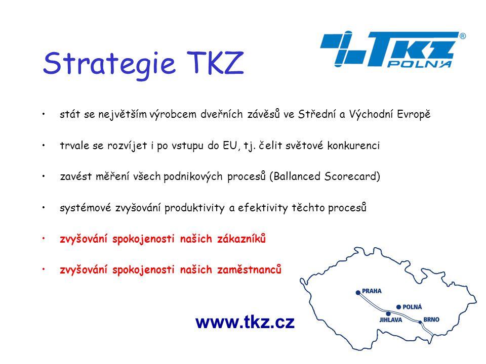 Strategie TKZ stát se největším výrobcem dveřních závěsů ve Střední a Východní Evropě trvale se rozvíjet i po vstupu do EU, tj.