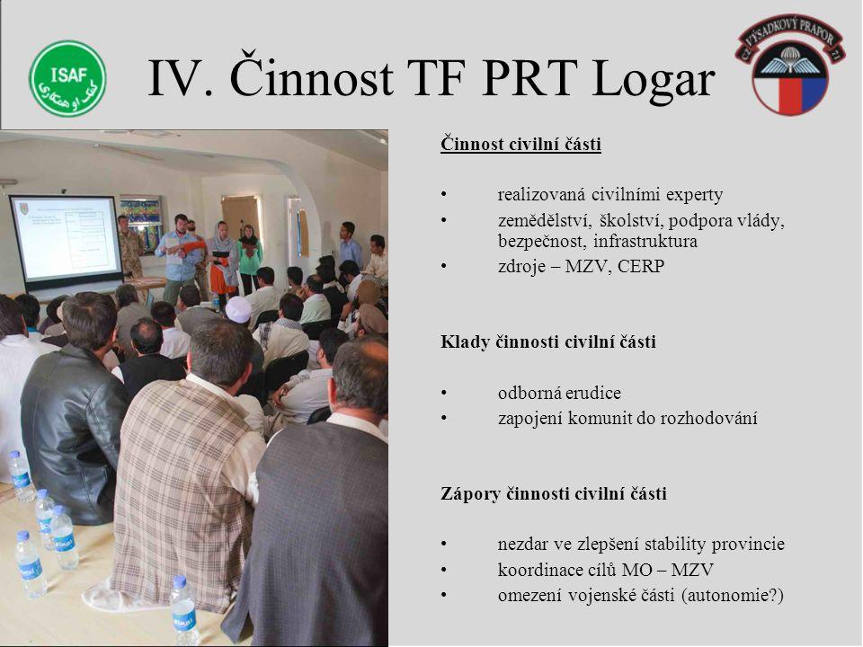 IV. Činnost TF PRT Logar Činnost civilní části realizovaná civilními experty zemědělství, školství, podpora vlády, bezpečnost, infrastruktura zdroje –