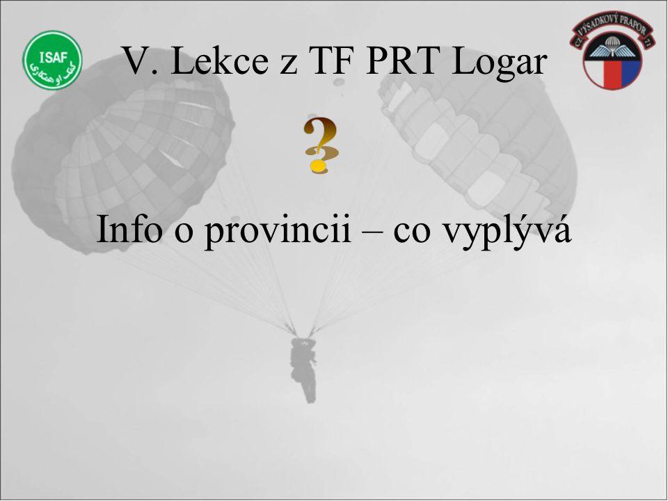 V. Lekce z TF PRT Logar Info o provincii – co vyplývá