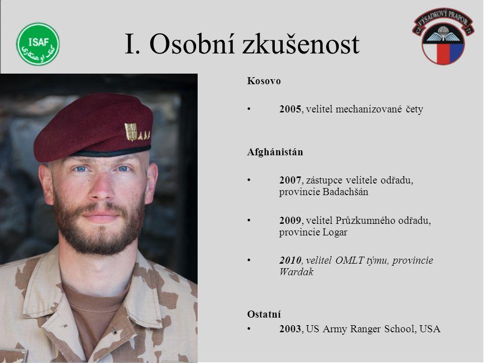 I. Osobní zkušenost Kosovo 2005, velitel mechanizované čety Afghánistán 2007, zástupce velitele odřadu, provincie Badachšán 2009, velitel Průzkumného