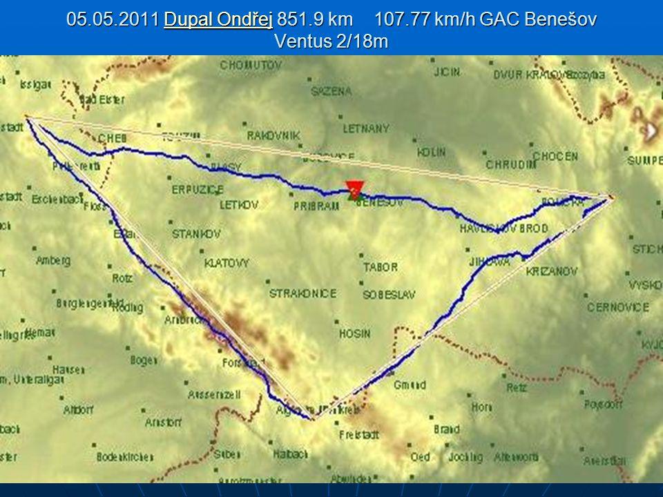 05.05.2011 Dupal Ondřej 851.9 km 107.77 km/h GAC Benešov Ventus 2/18m Dupal OndřejDupal Ondřej