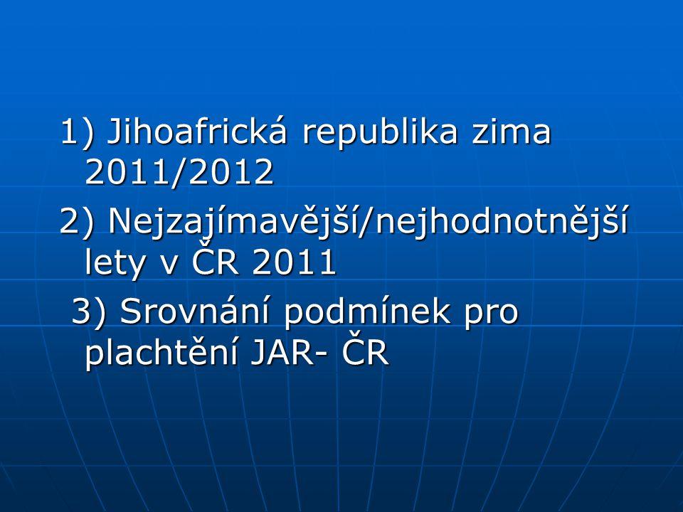 1) Jihoafrická republika zima 2011/2012 2) Nejzajímavější/nejhodnotnější lety v ČR 2011 3) Srovnání podmínek pro plachtění JAR- ČR 3) Srovnání podmínek pro plachtění JAR- ČR