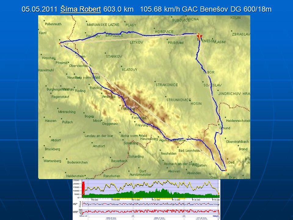 05.05.2011 Šíma Robert 603.0 km 105.68 km/h GAC Benešov DG 600/18m Šíma RobertŠíma Robert