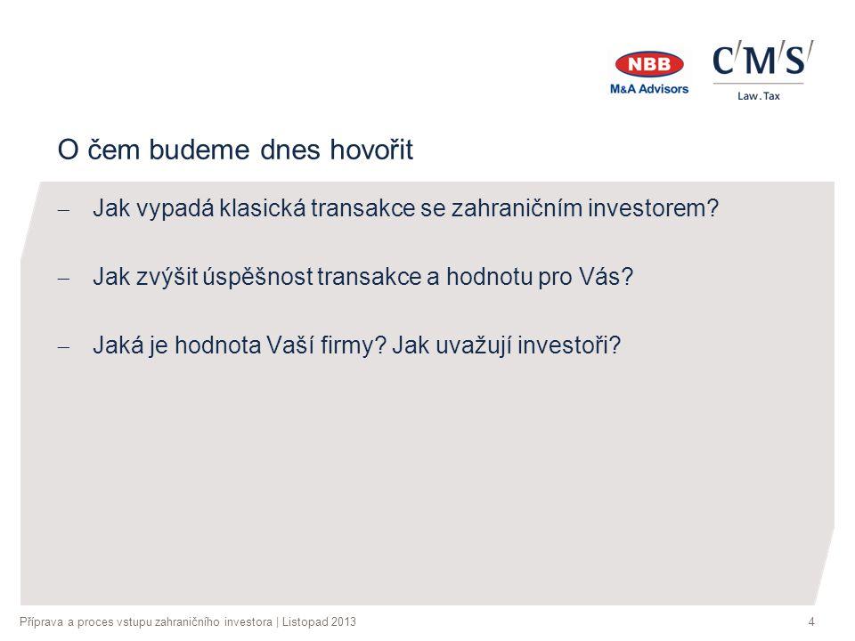 Příprava a proces vstupu zahraničního investora | Listopad 20134 O čem budeme dnes hovořit  Jak vypadá klasická transakce se zahraničním investorem.