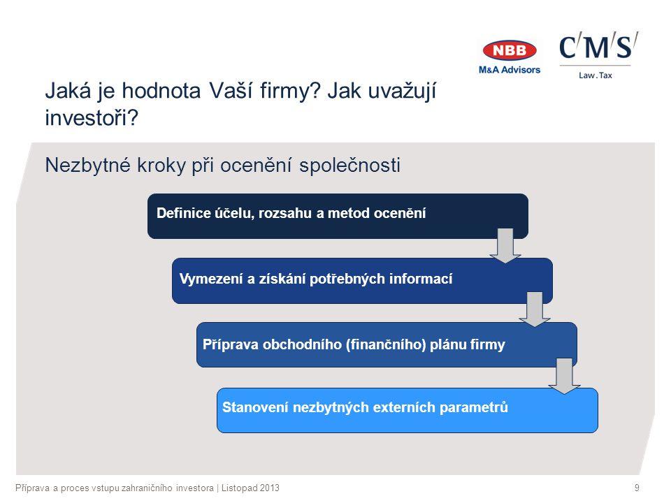 Příprava a proces vstupu zahraničního investora | Listopad 20139 Jaká je hodnota Vaší firmy.