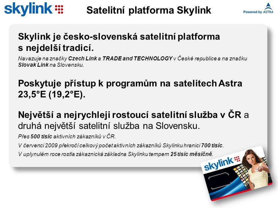 Skylink je česko-slovenská satelitní platforma s nejdelší tradicí. Navazuje na značky Czech Link a TRADE and TECHNOLOGY v České republice a na značku