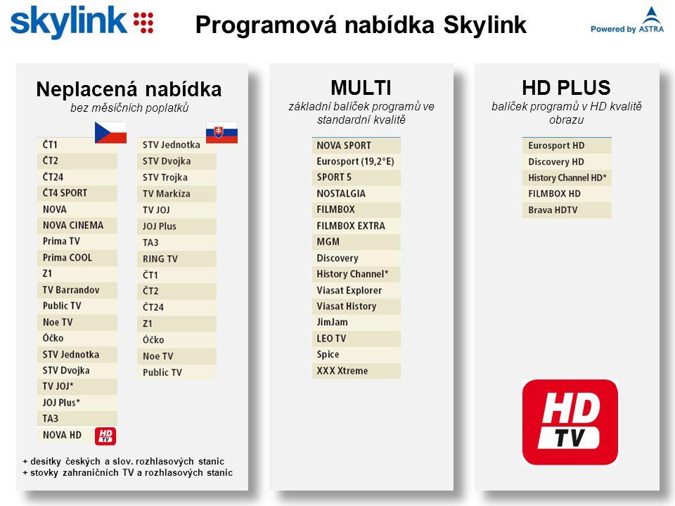 Neplacená nabídka bez měsíčních poplatků + desítky českých a slov. rozhlasových stanic + stovky zahraničních TV a rozhlasových stanic MULTI základní b