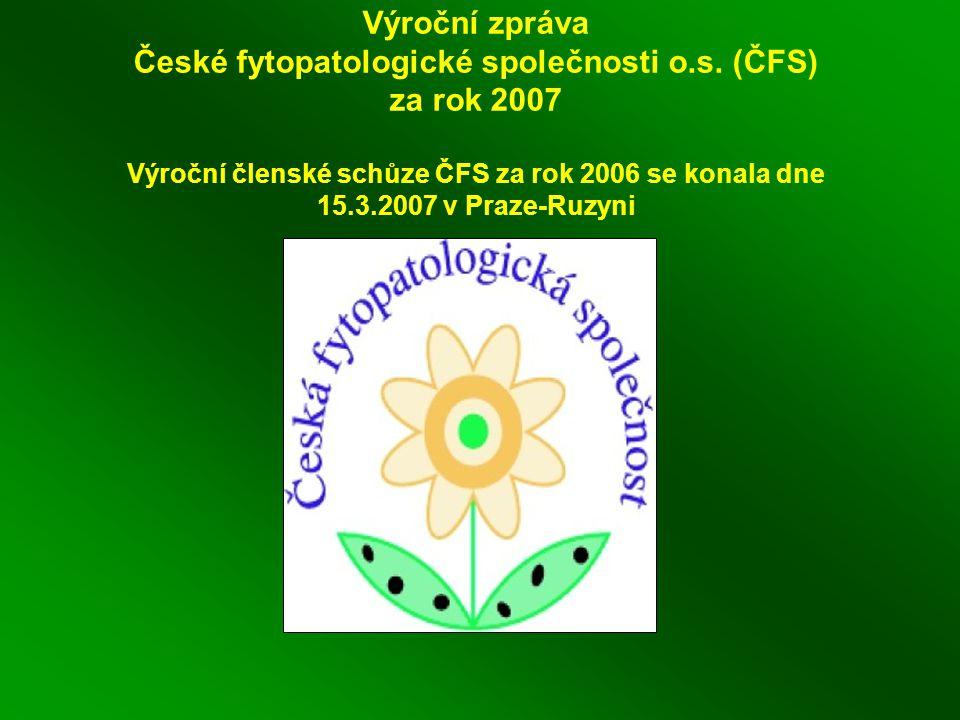 Výroční zpráva České fytopatologické společnosti o.s.