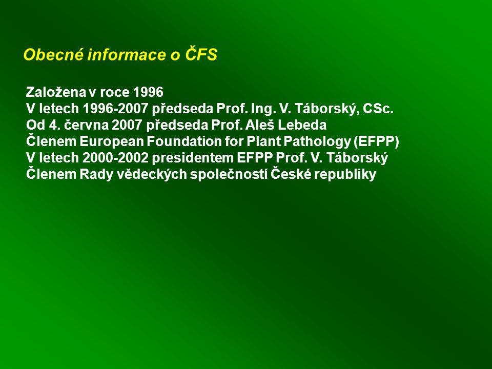 Obecné informace o ČFS Založena v roce 1996 V letech 1996-2007 předseda Prof.