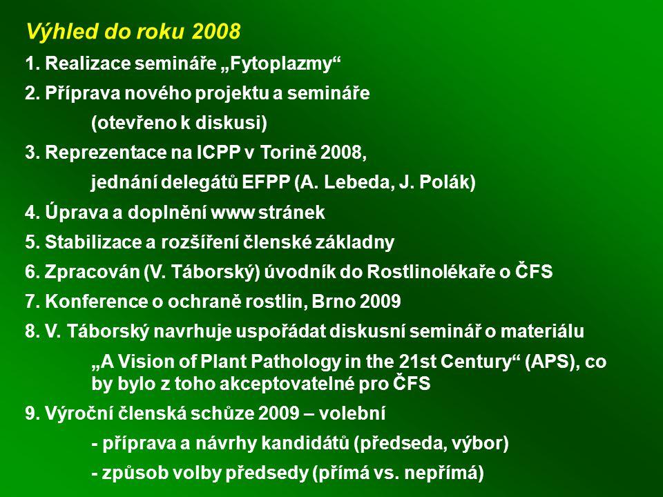 """Výhled do roku 2008 1. Realizace semináře """"Fytoplazmy 2."""