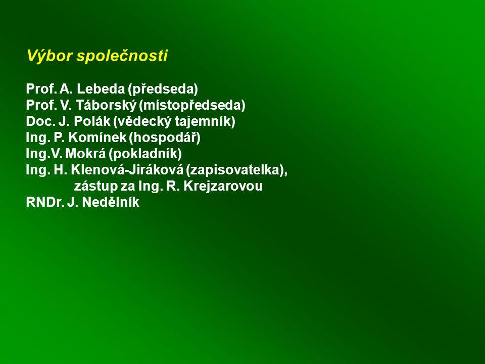 Výbor společnosti Prof. A. Lebeda (předseda) Prof.