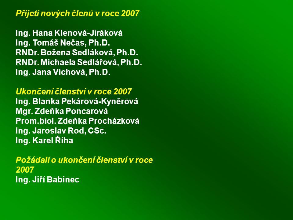 Přijetí nových členů v roce 2007 Ing. Hana Klenová-Jiráková Ing.