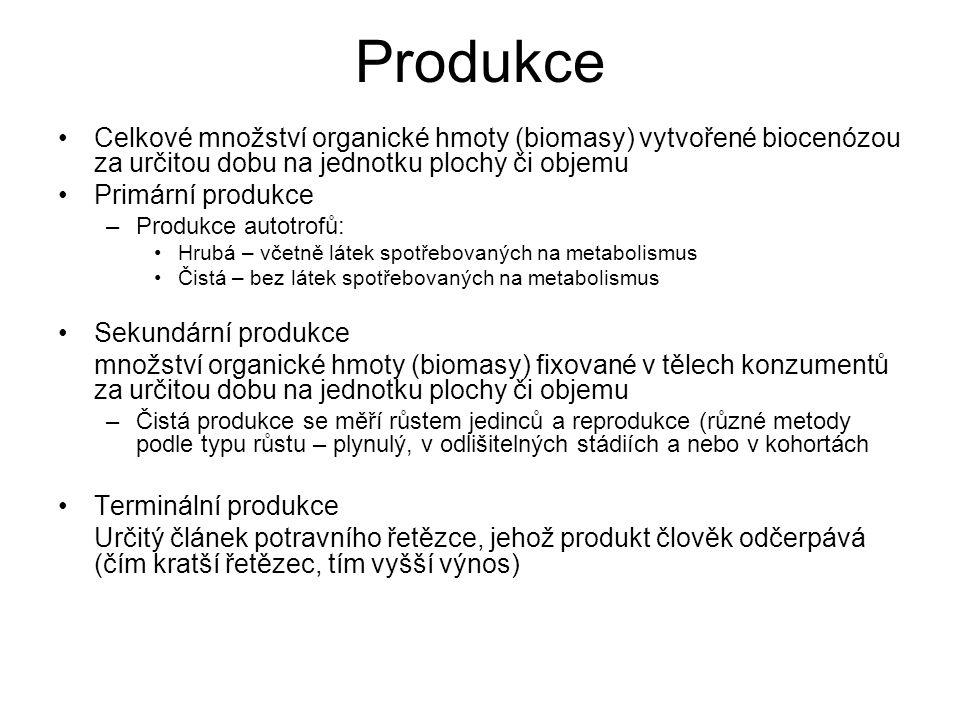Produkce Celkové množství organické hmoty (biomasy) vytvořené biocenózou za určitou dobu na jednotku plochy či objemu Primární produkce –Produkce auto
