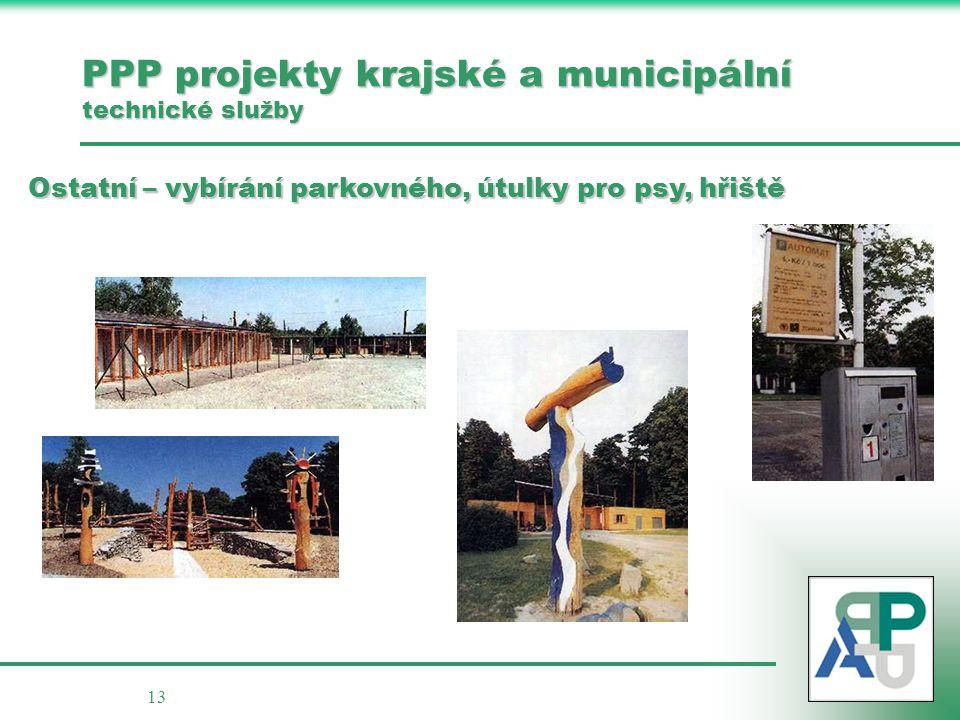 13 PPP projekty krajské a municipální technické služby Ostatní – vybírání parkovného, útulky pro psy, hřiště