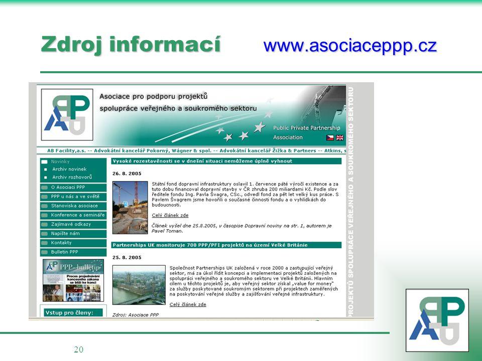 20 Zdroj informací www.asociaceppp.cz