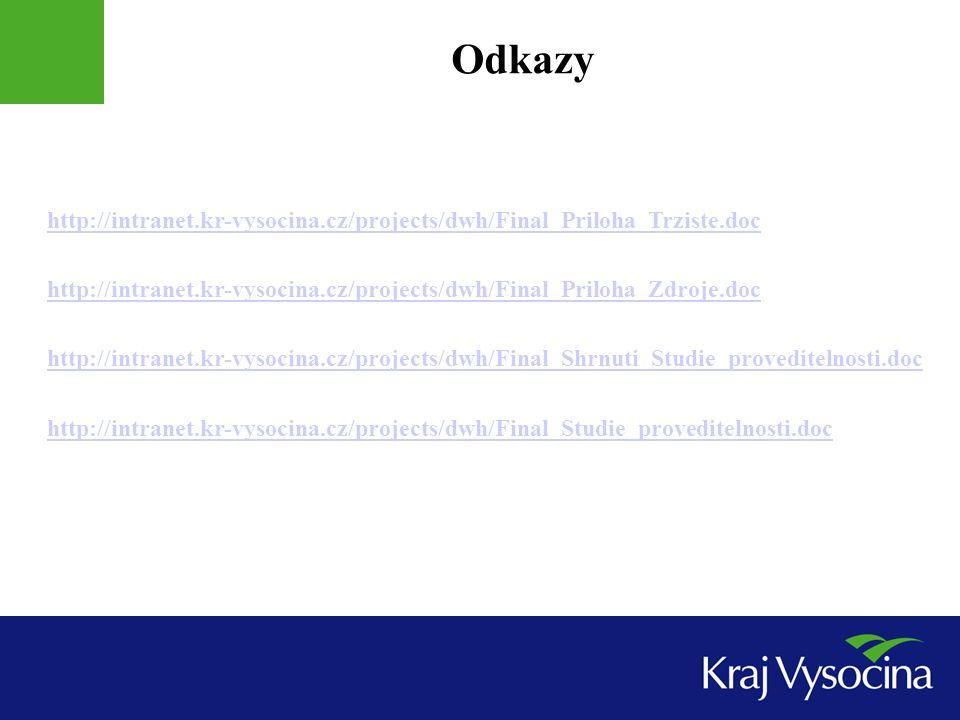 Odkazy http://intranet.kr-vysocina.cz/projects/dwh/Final_Priloha_Trziste.doc http://intranet.kr-vysocina.cz/projects/dwh/Final_Priloha_Zdroje.doc http