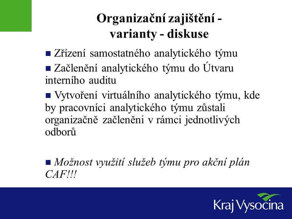 Organizační zajištění - varianty - diskuse Zřízení samostatného analytického týmu Začlenění analytického týmu do Útvaru interního auditu Vytvoření vir
