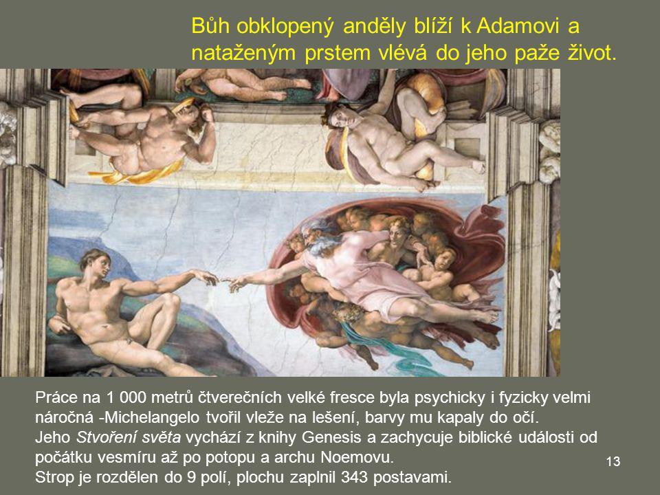13 Práce na 1 000 metrů čtverečních velké fresce byla psychicky i fyzicky velmi náročná -Michelangelo tvořil vleže na lešení, barvy mu kapaly do očí.