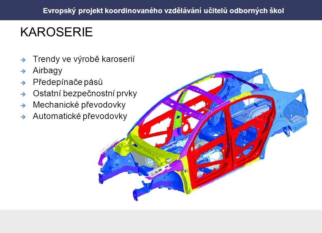 Evropský projekt koordinovaného vzdělávání učitelů odborných škol KAROSERIE  Trendy ve výrobě karoserií  Airbagy  Předepínače pásů  Ostatní bezpeč