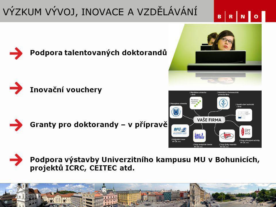 VÝZKUM VÝVOJ, INOVACE A VZDĚLÁVÁNÍ Podpora talentovaných doktorandů Inovační vouchery Granty pro doktorandy – v přípravě Podpora výstavby Univerzitníh