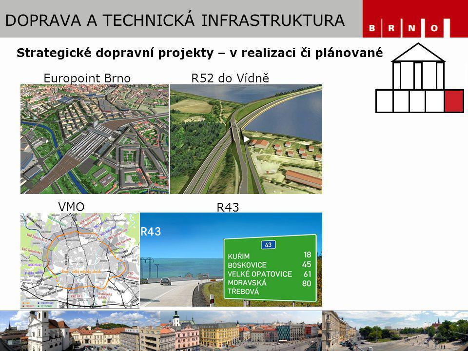 DOPRAVA A TECHNICKÁ INFRASTRUKTURA Europoint BrnoR52 do Vídně R43 VMO Strategické dopravní projekty – v realizaci či plánované