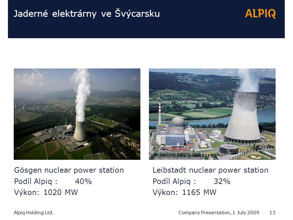 Alpiq Holding Ltd.Company Presentation, 1 July 200913 Jaderné elektrárny ve Švýcarsku Gösgen nuclear power station Podíl Alpiq : 40% Výkon:1020 MW Leibstadt nuclear power station Podíl Alpiq : 32% Výkon:1165 MW