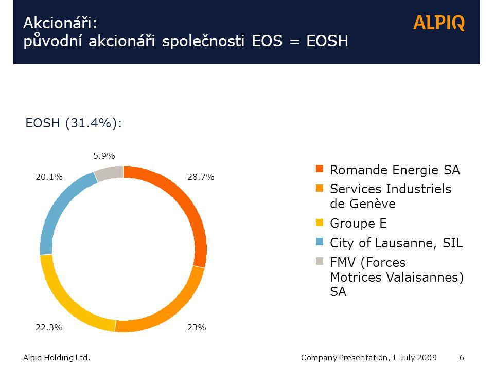 Alpiq Holding Ltd.Company Presentation, 1 July 20096 Services Industriels de Genève Akcionáři: původní akcionáři společnosti EOS = EOSH EOSH (31.4%): Romande Energie SA Groupe E City of Lausanne, SIL FMV (Forces Motrices Valaisannes) SA 20.1% 22.3%23% 28.7% 5.9%