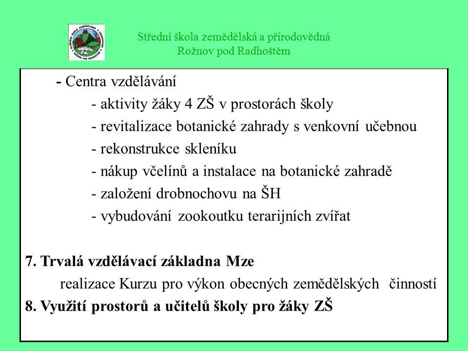 Střední škola zemědělská a přírodovědná Rožnov pod Radhoštěm - Centra vzdělávání - aktivity žáky 4 ZŠ v prostorách školy - revitalizace botanické zahr