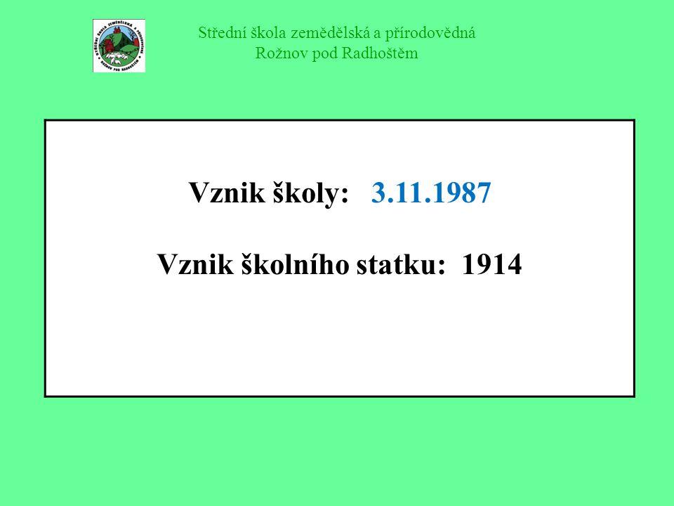Vznik školy: 3.11.1987 Vznik školního statku: 1914
