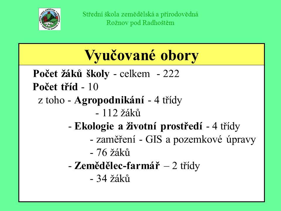 Střední škola zemědělská a přírodovědná Rožnov pod Radhoštěm Vyučované obory Počet žáků školy - celkem - 222 Počet tříd - 10 z toho - Agropodnikání -
