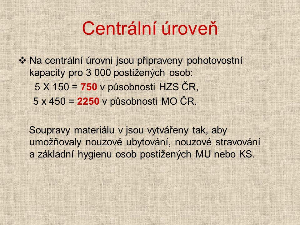 Centrální úroveň  Na centrální úrovni jsou připraveny pohotovostní kapacity pro 3 000 postižených osob: 5 X 150 = 750 v působnosti HZS ČR, 5 x 450 = 2250 v působnosti MO ČR.