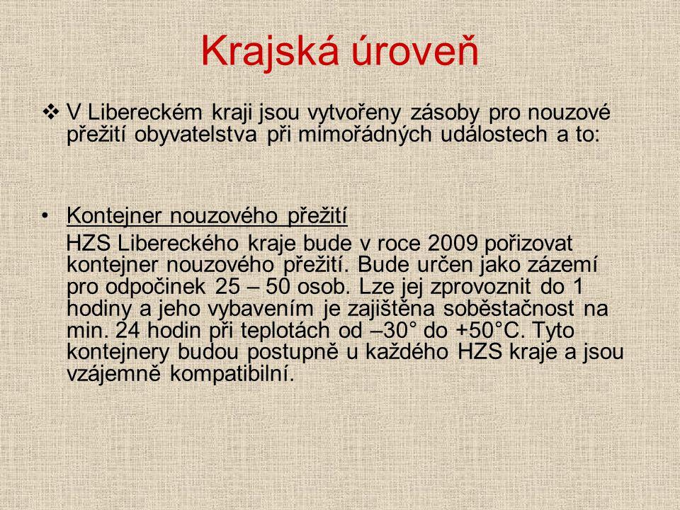 Krajská úroveň  V Libereckém kraji jsou vytvořeny zásoby pro nouzové přežití obyvatelstva při mimořádných událostech a to: Kontejner nouzového přežití HZS Libereckého kraje bude v roce 2009 pořizovat kontejner nouzového přežití.