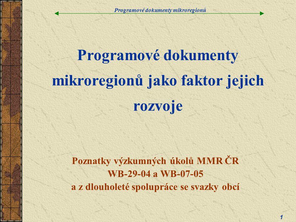 Programové dokumenty mikroregionů 1 Programové dokumenty mikroregionů jako faktor jejich rozvoje Poznatky výzkumných úkolů MMR ČR WB-29-04 a WB-07-05 a z dlouholeté spolupráce se svazky obcí