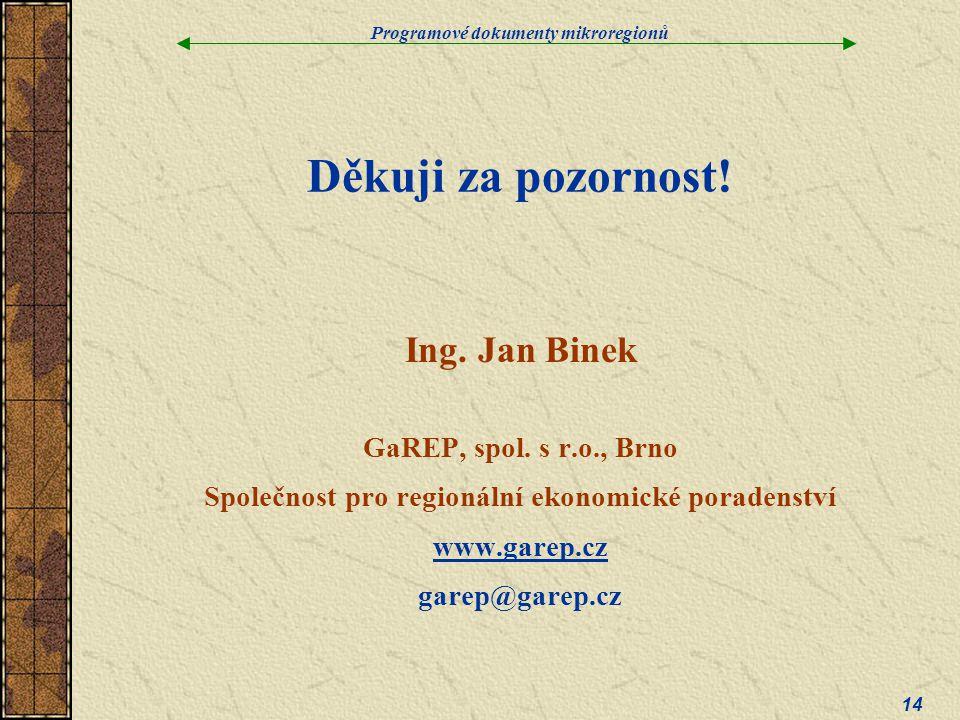 Programové dokumenty mikroregionů 14 Děkuji za pozornost.