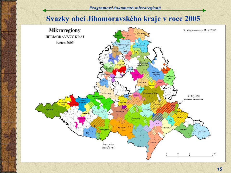 Programové dokumenty mikroregionů 15 Svazky obcí Jihomoravského kraje v roce 2005
