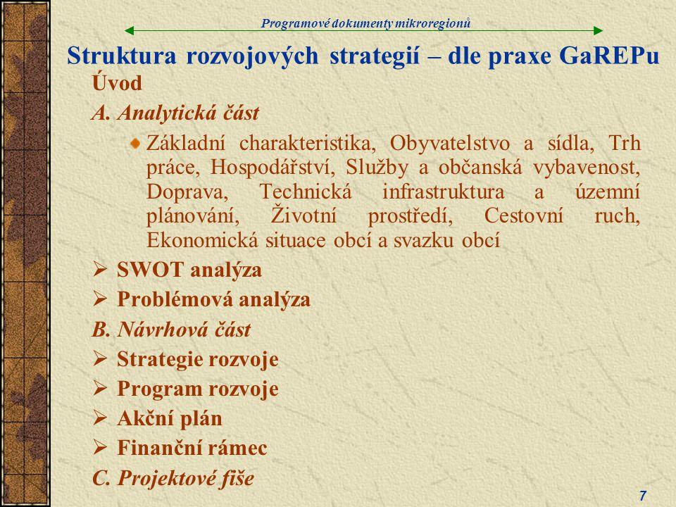 Programové dokumenty mikroregionů 7 Struktura rozvojových strategií – dle praxe GaREPu Úvod A.