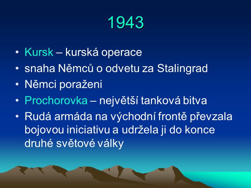 1943 Kursk – kurská operace snaha Němců o odvetu za Stalingrad Němci poraženi Prochorovka – největší tanková bitva Rudá armáda na východní frontě převzala bojovou iniciativu a udržela ji do konce druhé světové války