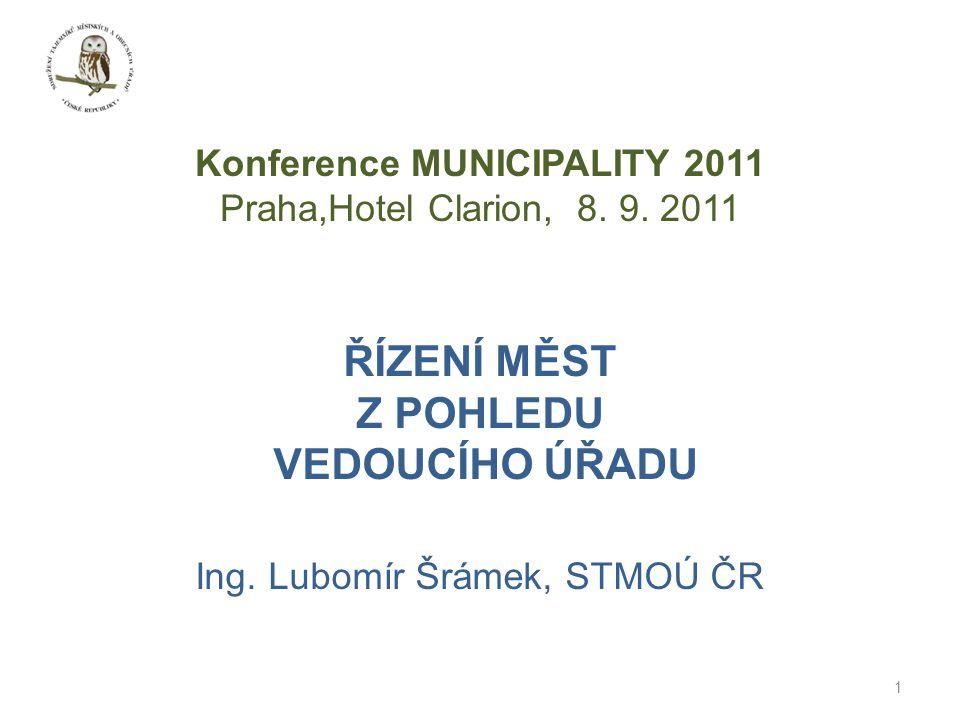 1 ŘÍZENÍ MĚST Z POHLEDU VEDOUCÍHO ÚŘADU Ing. Lubomír Šrámek, STMOÚ ČR Konference MUNICIPALITY 2011 Praha,Hotel Clarion, 8. 9. 2011