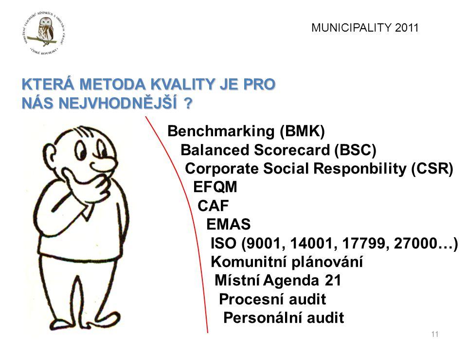 11 KTERÁ METODA KVALITY JE PRO NÁS NEJVHODNĚJŠÍ ? Benchmarking (BMK) Balanced Scorecard (BSC) Corporate Social Responbility (CSR) EFQM CAF EMAS ISO (9