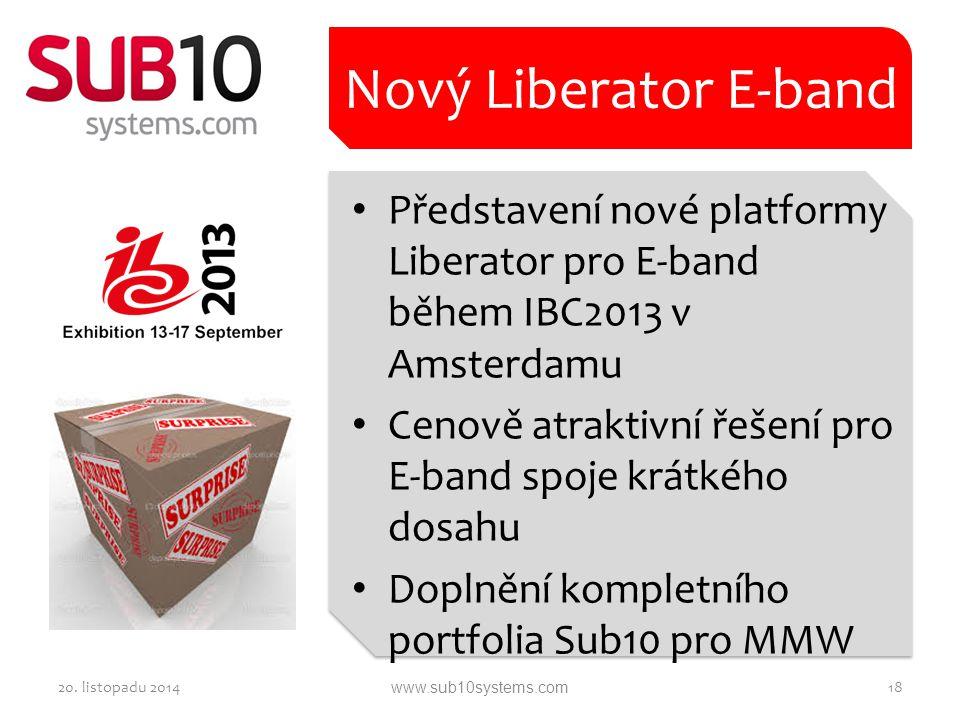 Představení nové platformy Liberator pro E-band během IBC2013 v Amsterdamu Cenově atraktivní řešení pro E-band spoje krátkého dosahu Doplnění kompletn