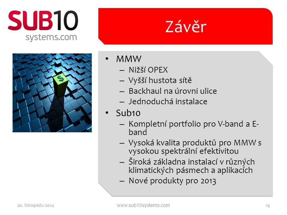 MMW – Nižší OPEX – Vyšší hustota sítě – Backhaul na úrovni ulice – Jednoduchá instalace Sub10 – Kompletní portfolio pro V-band a E- band – Vysoká kval